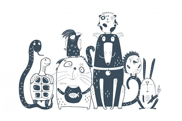 Domestic animals pets together portrait Premium Vector