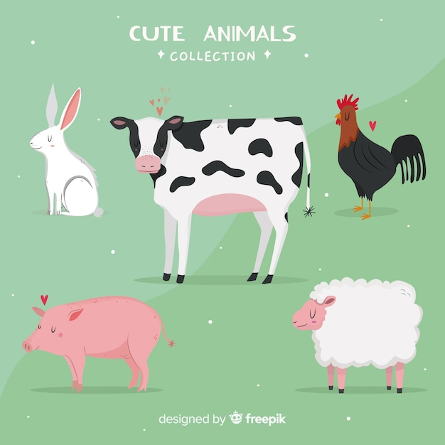 Domestic and cute animal collection Free Vector
