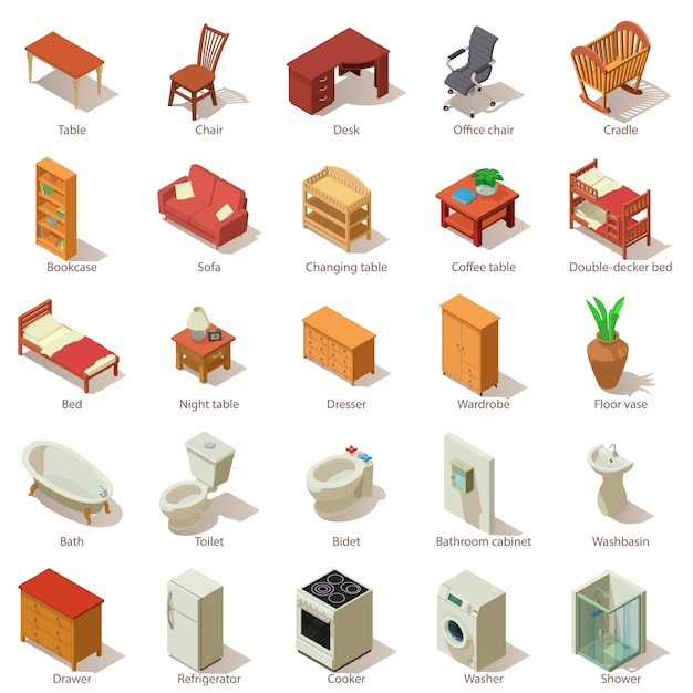 Domestic furniture icons set. isometric illustration of 25 domestic furniture vector icons for web Premium Vector