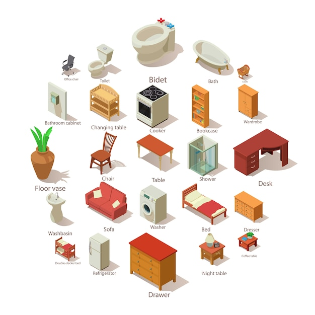 Domestic furniture icons set, isometric style Premium Vector