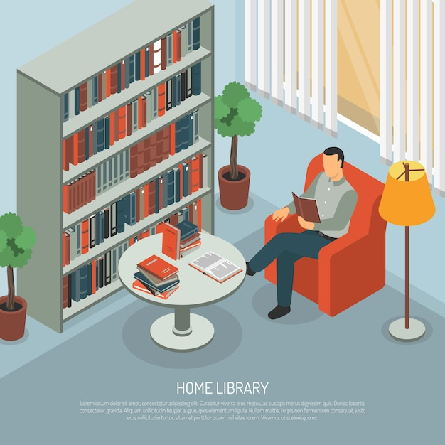 Домашняя библиотека чтение композиция Бесплатные векторы