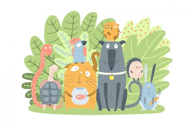 Domestic pets animals with green bush Premium Vector