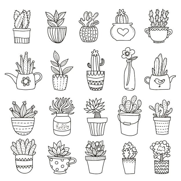 Домашние растения icon set Бесплатные векторы