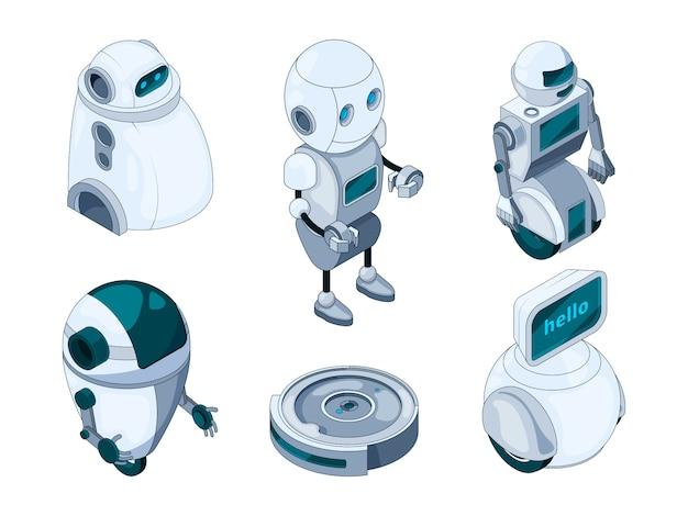 Domestic robots assistant. various help machines Premium Vector