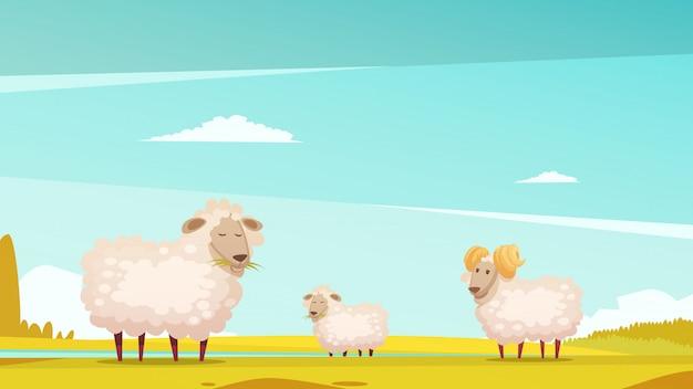 国内のヒツジの飼育および農場の牧草地の育成 無料ベクター