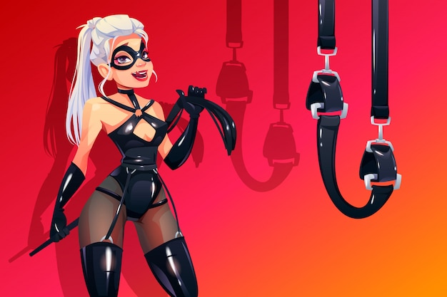 Dominatrix woman in bdsm latex costume with fetish Free Vector