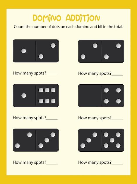 Premium Vector Domino Couting Math Worksheet