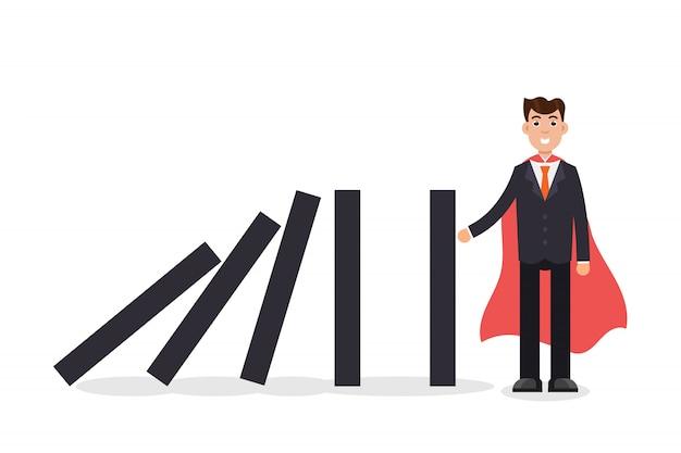 Domino effect. businessman holding the domino. vector illustration. Premium Vector