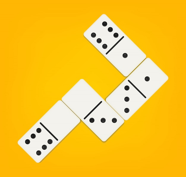 Domino full set, dominoes bones, 28 pieces. Premium Vector