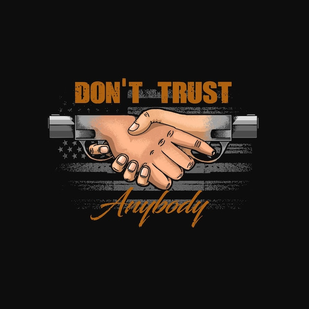 Не доверяйте никому символ иллюстрации Premium векторы