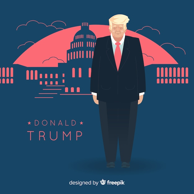Donald trump character with flat design Free Vector