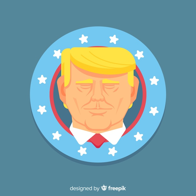 Donald trump portrait with flat design Free Vector