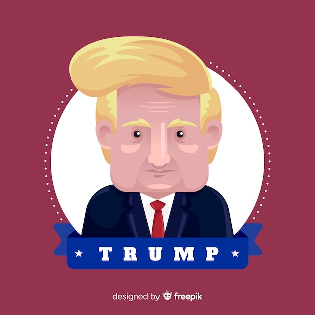 Donald trump portrait with flat design Free Vector