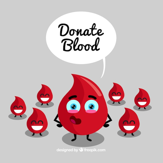 Donate blood background with happy drops Free Vector