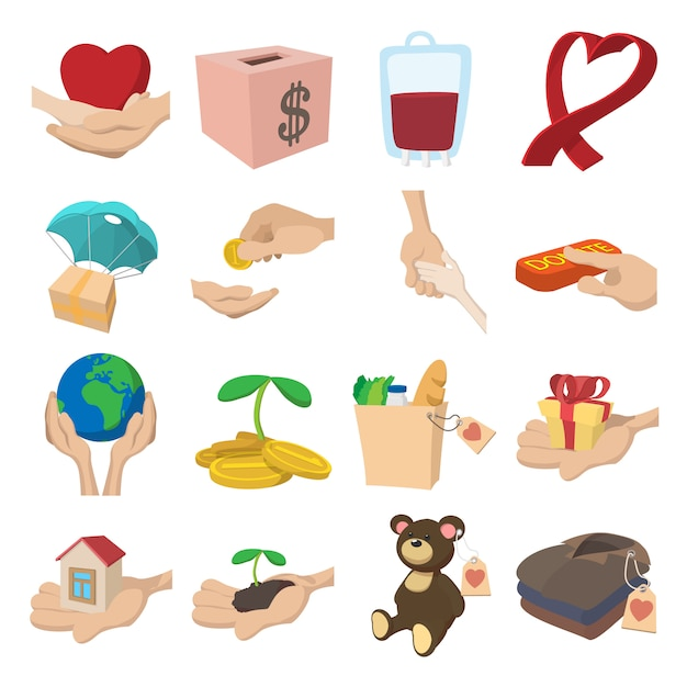 Donate given or charity and assistance help or aid cartoon icons set Premium Vector