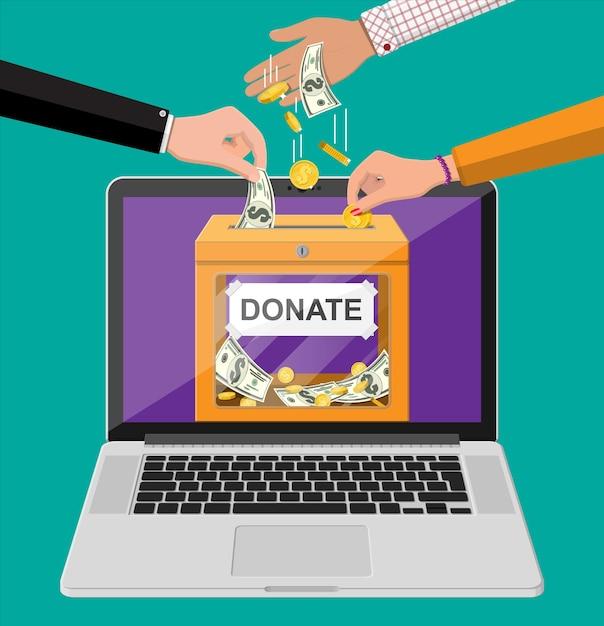 オンラインコンセプトを寄付します。金貨、ドル紙幣、ノートパソコンが入った募金箱。チャリティー、寄付、支援、援助のコンセプト。 Premiumベクター