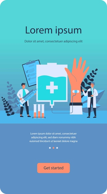 Donating blood in hospital flat Premium Vector
