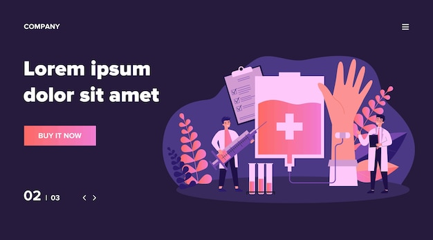 Donating blood in hospital   illustration. cartoon doctor or nurse taking blood from donor infographics. health, emergency and medicine concept Premium Vector