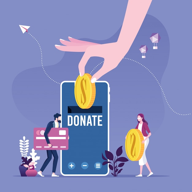 Donating money by online payments. charity fundraising concept. Premium Vector
