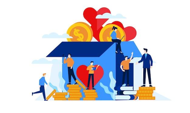 Благотворительный ящик для пожертвований с большим сердцем плоский дизайн иллюстрации Premium векторы