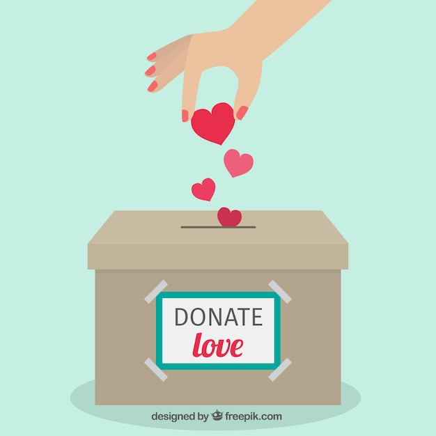 Donation box flat background Free Vector
