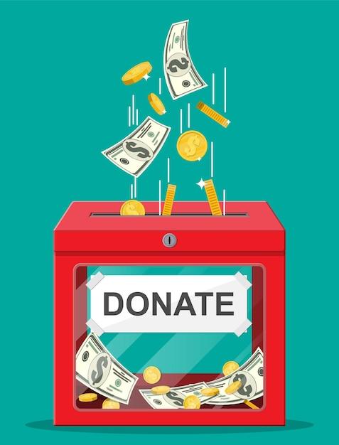 金貨とドル紙幣の募金箱。チャリティー、寄付、支援、援助のコンセプト。 Premiumベクター