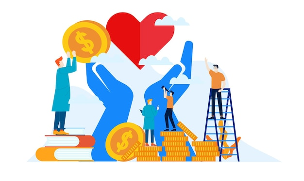 День пожертвований благотворительность с большим сердцем и большими руками плоский дизайн иллюстрации Premium векторы