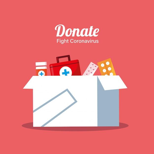 Пожертвование коробок с медикаментами Premium векторы