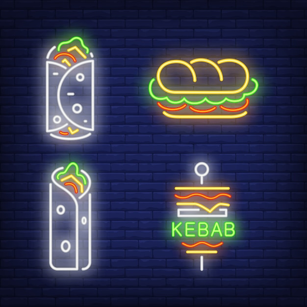 Doner kebab and shawarma neon signs set Free Vector