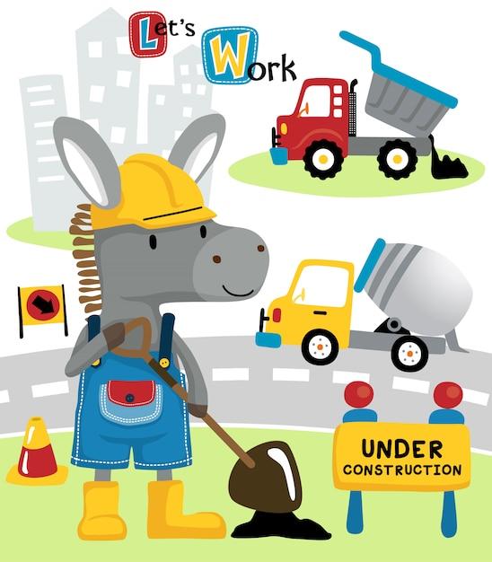 Donkey cartoon with construction vehicles Premium Vector