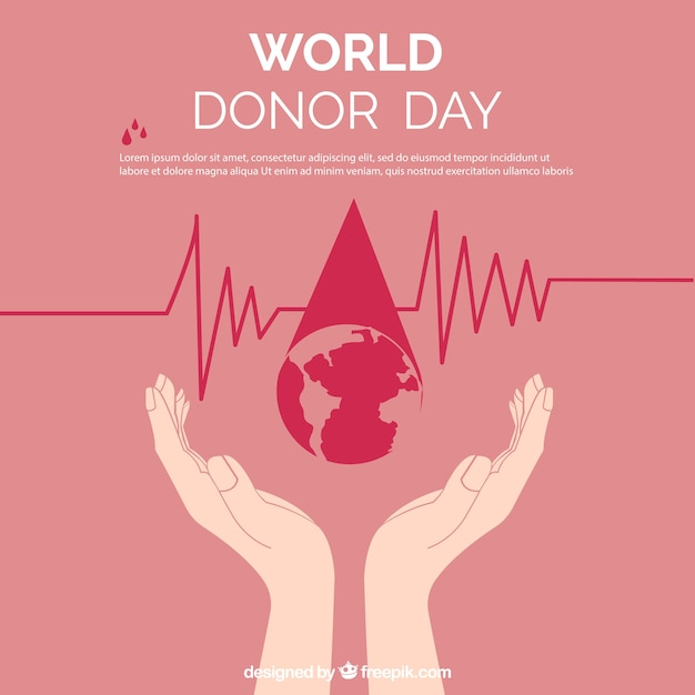 Donor day background with hands Free Vector