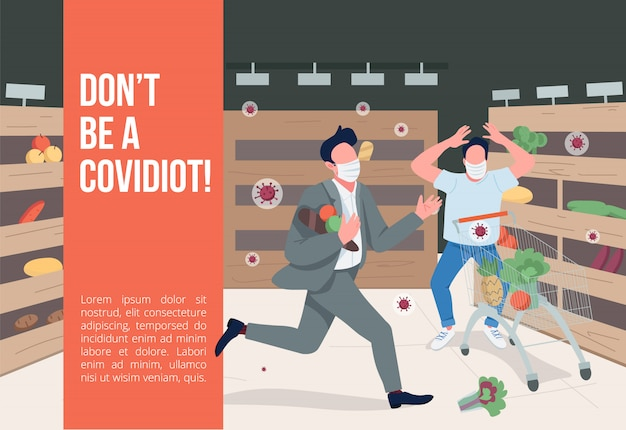 Dont be a covidiot banner flat template Premium Vector
