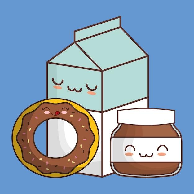 Donut chocolate spread milk kawaii food Premium Vector