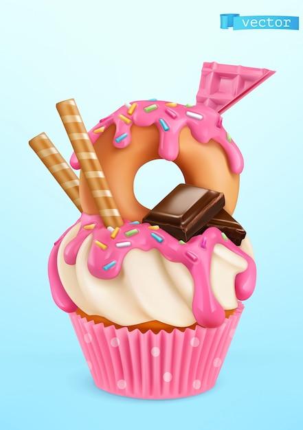 Пончик кекс иллюстрация Premium векторы