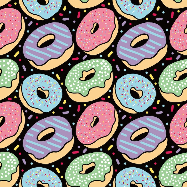 donut delicious cake seamless pattern in black background Premium Vector