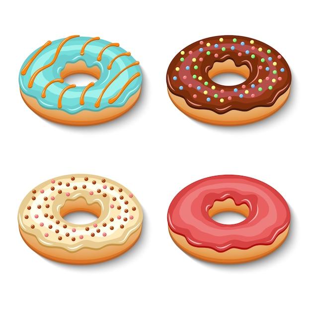 Donut dessert set Premium Vector