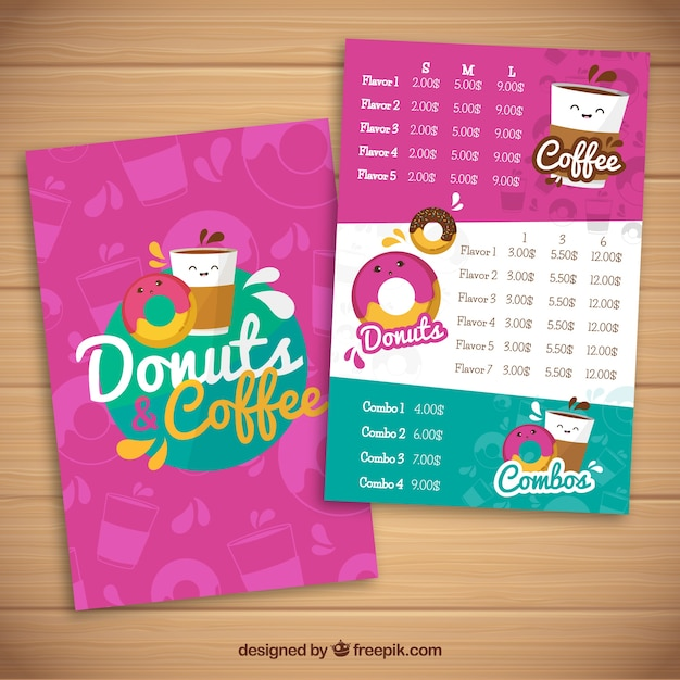 Donut food truck menu template