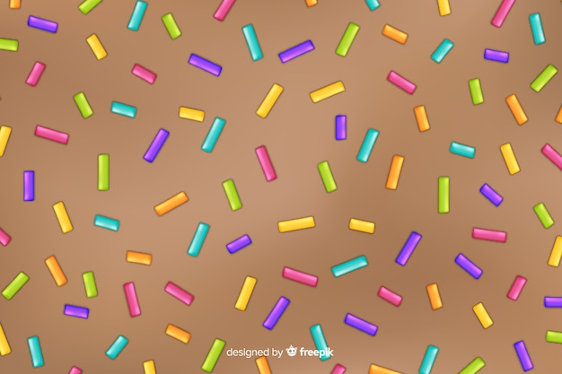 Donut glaze background with sprinkles Premium Vector