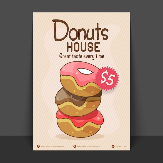 donut house flyer template or price card design vector for food