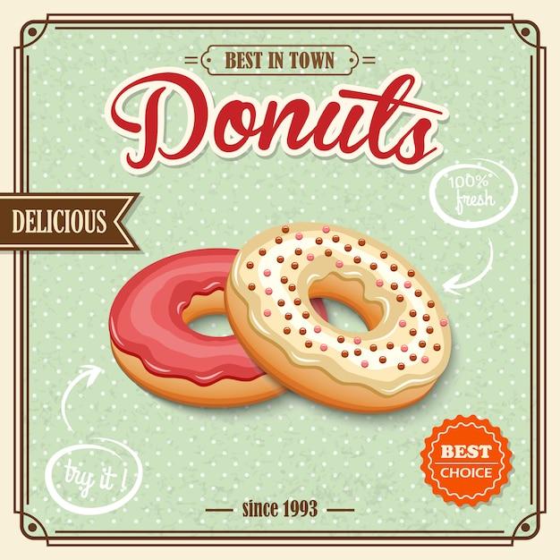 Donut retro poster Premium Vector