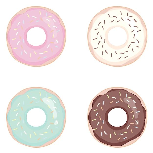 Пончик на белом фоне. пончики с глазурью. Premium векторы