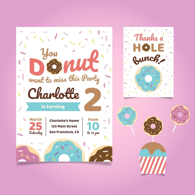 Donut theme birthday party invitation Vector Free Download
