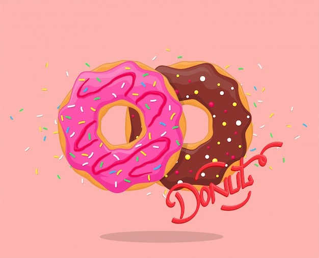 Donut with pink glaze and chocolate. sweet sugar icing donuts with  lettering logo. top view Premium Vector