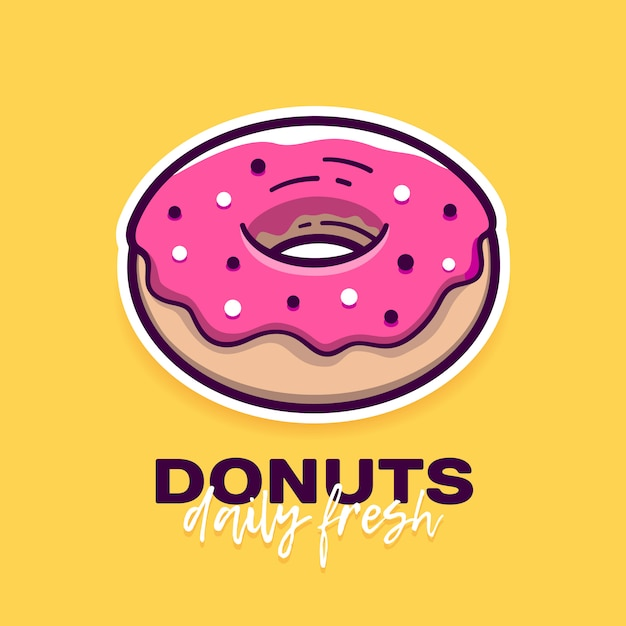 Donut with pink icing and text Premium Vector