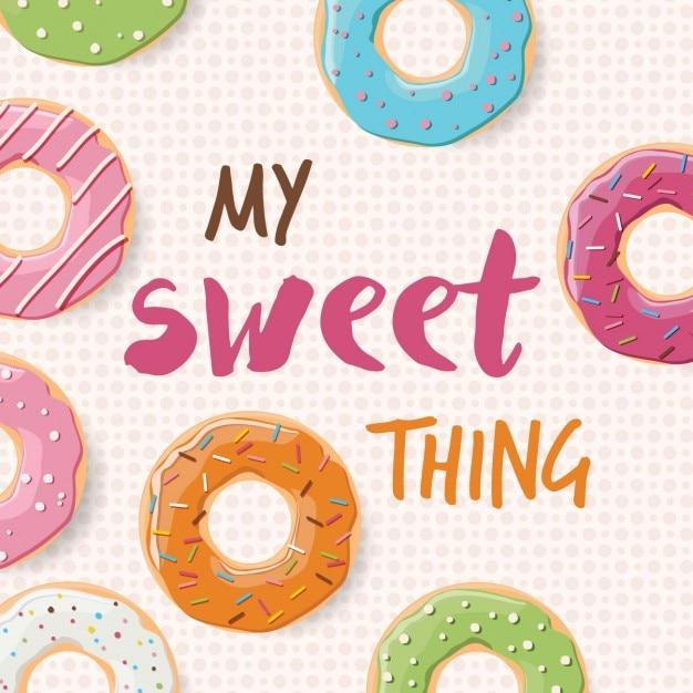 Background design donuts Vettore gratuito