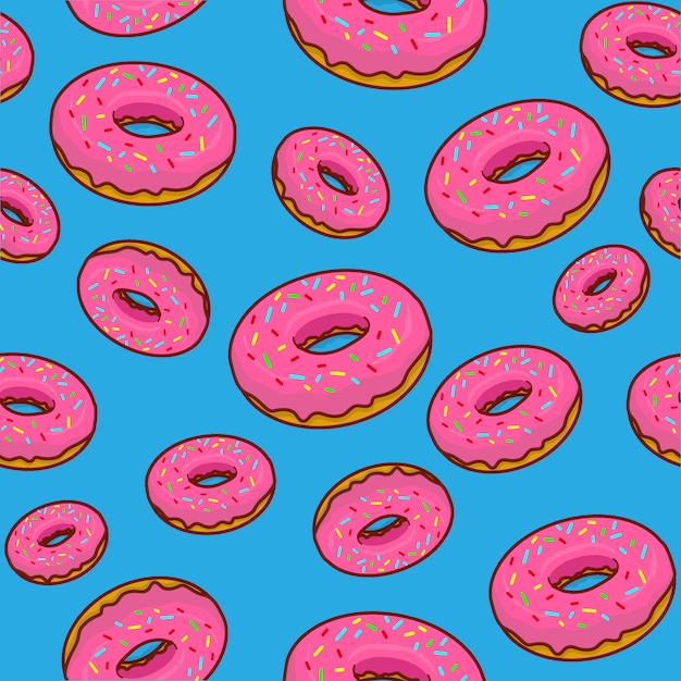 Donuts background , donut cartoon, donut seamless pattern Premium Vector