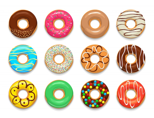 Donuts elements set, cartoon style Premium Vector