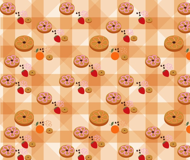 Donuts pattern on background vector. Premium Vector