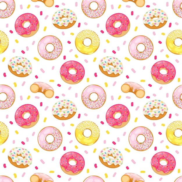 Donuts seamless pattern Premium Vector