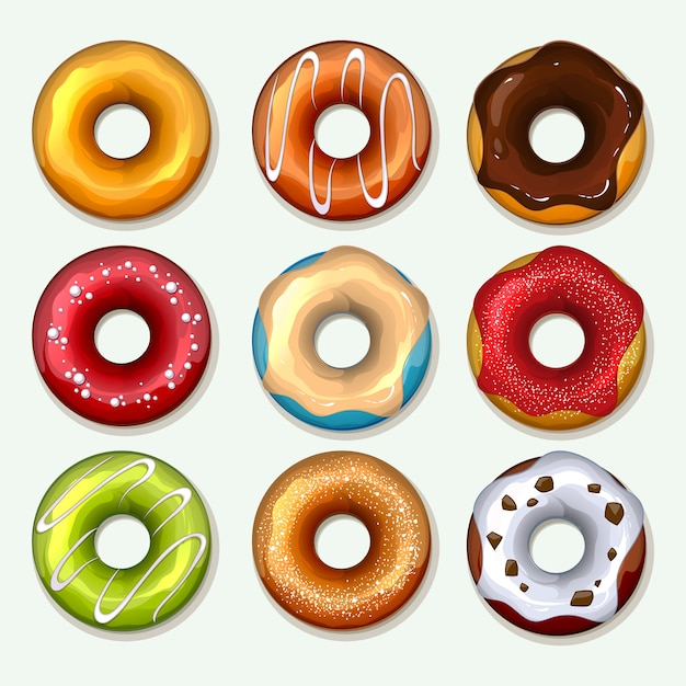 Donuts set in cartoon style. sweet dessert, chocolate and sugar, breakfast snack, tasty bakery Free Vector